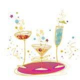 鸡尾酒会邀请海报 鸡尾酒的手拉的例证 鸡尾酒杯 鸡尾酒棒 生日邀请 库存照片