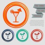 鸡尾酒会,在红色,蓝色,绿色,橙色按钮您的网站的和设计的马蒂尼鸡尾酒象与空间发短信 免版税库存照片