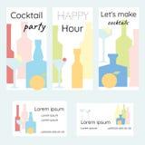 鸡尾酒会,快乐时光 一套宣传手册和名片酒吧或餐馆的 向量例证
