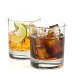 鸡尾酒可乐威士忌酒 免版税库存图片