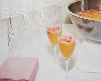 鸡尾酒和果汁喷趣酒碗 库存照片