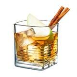鸡尾酒在白色背景和桂香隔绝的苹果汁 免版税图库摄影