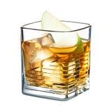 鸡尾酒在白色背景和桂香隔绝的苹果汁 免版税库存照片