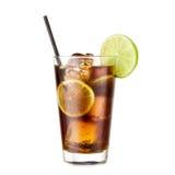 鸡尾酒在白色背景隔绝的可口可乐石灰 库存照片