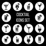 鸡尾酒在黑白设置的传染媒介象 库存例证