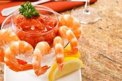 鸡尾酒新鲜的虾 免版税库存图片