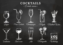 鸡尾酒杯饮料菜单的传染媒介例证 手拉的剪影设置了酒精饮料啤酒, mojito等 皇族释放例证