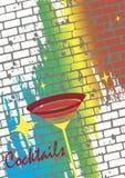 鸡尾酒海报 减速火箭的背景 免版税库存照片