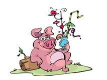 鸡尾酒猪 向量例证
