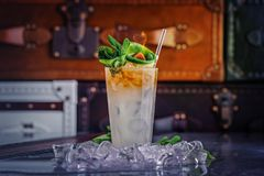 鸡尾酒用兰姆酒、薄菏和石灰 免版税库存图片