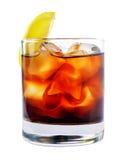鸡尾酒用冰可乐威士忌酒 免版税库存图片