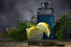 鸡尾酒用蓝色杜松子酒、补品和柠檬 库存图片