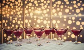 鸡尾酒用蔓越橘汁和伏特加酒在桌上 图库摄影