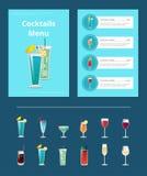 鸡尾酒目录杆布局用酒精饮料 向量例证