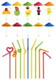 鸡尾酒秸杆和伞 向量例证