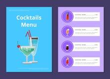 鸡尾酒菜单与马蒂尼鸡尾酒的广告海报 向量例证