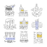 鸡尾酒酒吧快乐时光促进标志设计模板套用不同的饮料的手拉的行家剪影和 库存例证