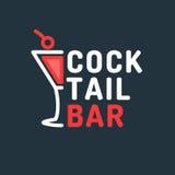 鸡尾酒酒吧的明亮的传染媒介例证 机关的原始的标志 库存例证