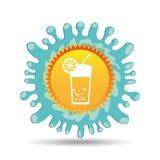 鸡尾酒饮料暑假太阳飞溅标签 免版税图库摄影