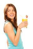 鸡尾酒饮用的汁液桔子妇女 库存图片