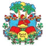 鸡尾酒鹦鹉党在棕榈下的热带 库存图片