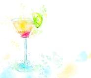 鸡尾酒龙舌兰酒的水彩例证 库存照片