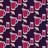 鸡尾酒 与玻璃,伞的无缝的样式 向量例证