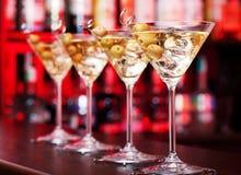鸡尾酒collction -在酒吧的马蒂尼鸡尾酒 免版税库存照片