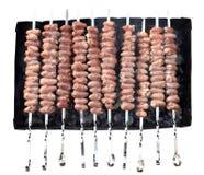 从鸡心脏的Kebab 图库摄影