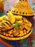 鸡摩洛哥鸡豆的柠檬 免版税库存照片