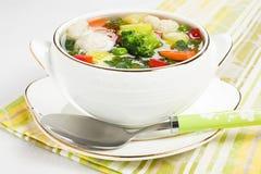 鸡新鲜的丸子汤蔬菜 免版税库存照片