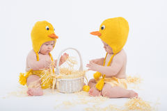 鸡服装的两个婴孩有白色篮子的 免版税库存照片