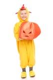 鸡服装的男孩用南瓜 免版税图库摄影