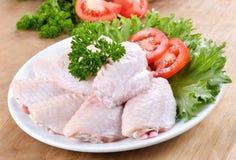 鸡未加工的蔬菜翼 图库摄影