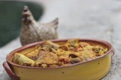 鸡柠檬橄榄炖煮的食物 库存照片