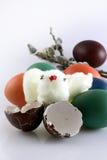 鸡棉花复活节彩蛋 库存照片