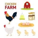 鸡母鸡雄鸡蛋饲料和农厂孤立在白色背景 免版税库存图片