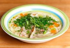 鸡汤用面条和菜在陶瓷碗 免版税库存图片