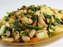 鸡油炸物混乱蔬菜 库存照片