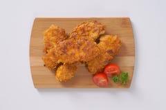 鸡油煎了肉 库存照片