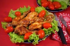 鸡油煎的蔬菜 免版税库存图片