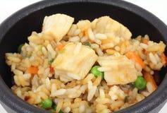 鸡炒饭服务蔬菜 库存图片