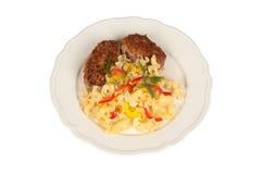 鸡炸肉排和意大利面食 免版税库存图片