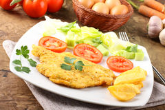 鸡炸肉排用沙拉 免版税库存照片