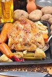 鸡烤有机某棵蔬菜 免版税库存照片