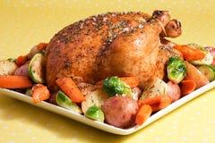 鸡烤蔬菜 图库摄影
