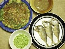 鸡煎蛋卷用地方草本和泰国鲭鱼在板材油煎了 免版税图库摄影