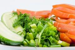 鸡熏制的蔬菜 免版税图库摄影