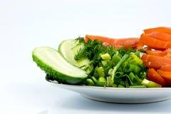 鸡熏制的蔬菜 免版税库存图片