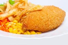 鸡玉米炸薯条基辅 库存图片